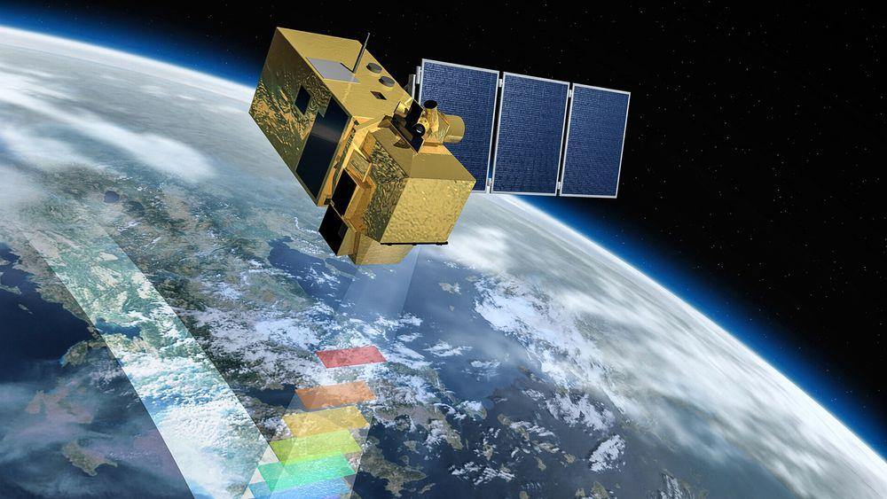 Datagenerator: Hver av Sentinel-satellittene genererer 11 terabyte med data hvert døgn. De henter optiske bilder av jordoverflaten i flere frekvensbånd.
