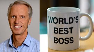 Aasmundtveit voksen kar i blå skjorte, bildecollage med kopp m teksten World's Best Boss