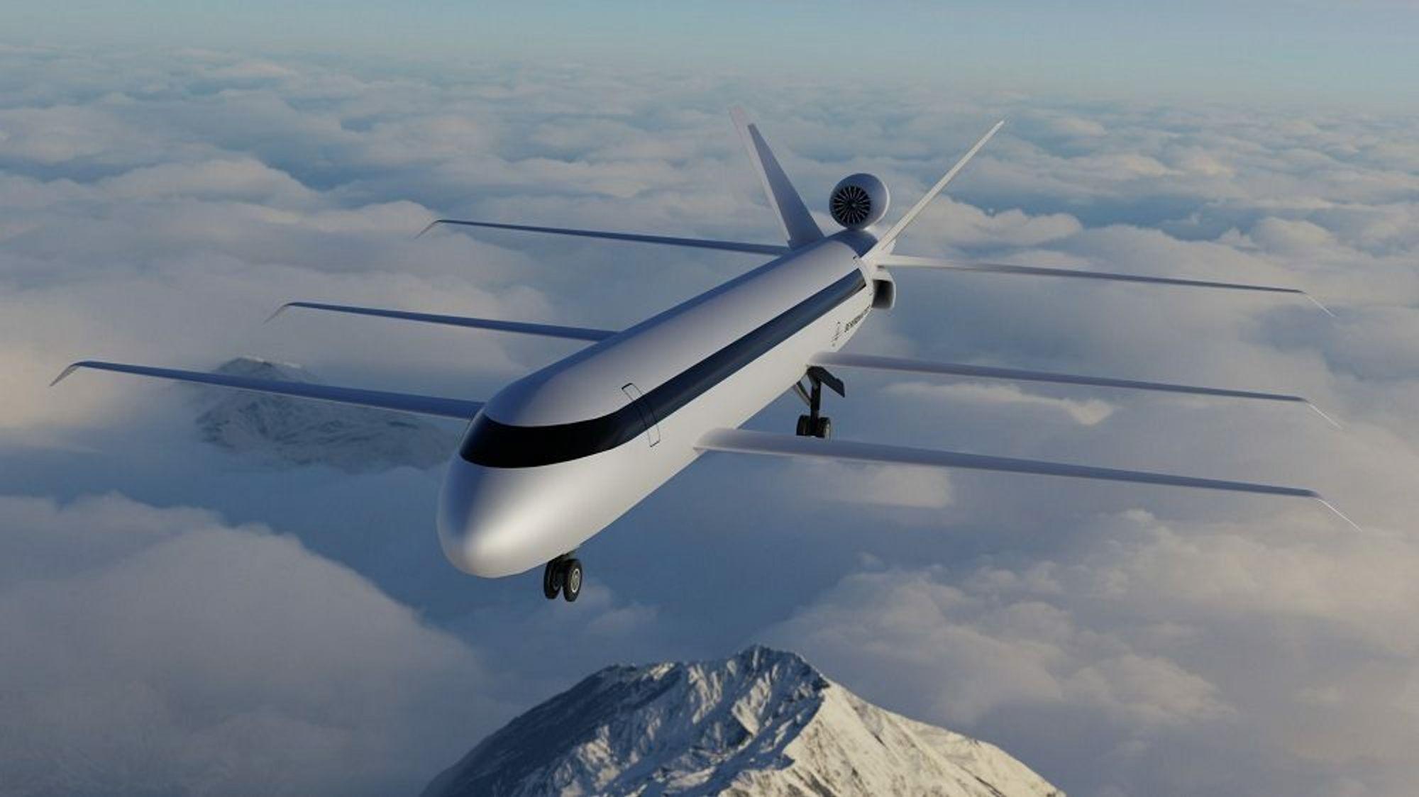 SE Aeronautics har lansert en prototyp på et fly med tre vinger og motor bakerst på flyet.