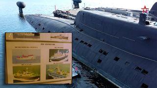 På innsida av den russiske angrepsubåten henger det bilder av sivile norske fartøyer