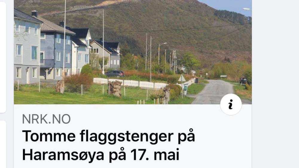 «Over heile landet blir det norske flagget heist til topps i dag. Men på Haramsøya på Sunnmøre er situasjonen annleis,» skrev NRK 17. mai. Nå viser det seg at bildet er misvisende (skjermdump).