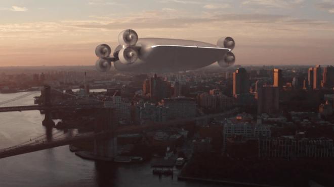 Illustrasjon av hvordan flyet er tenkt over Manhattan.