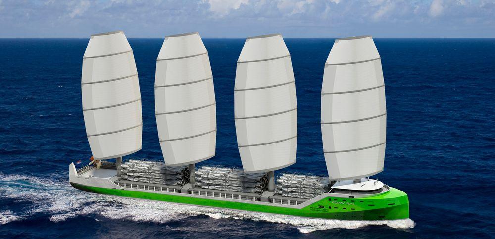 Dykstra Naval Architects i Nederland har utviklet konseptskipet WASP på 138 meter med Dynarig og seilareal på 4000 kvadratmeter.
