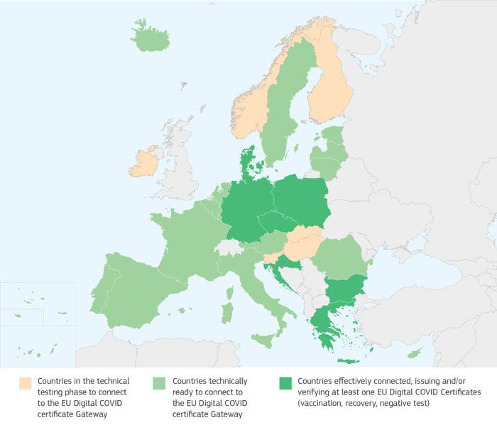 De ulike EU/EØS-landenes status for tilknytning til EUs korona-gateway-system per 2. juni 2021.