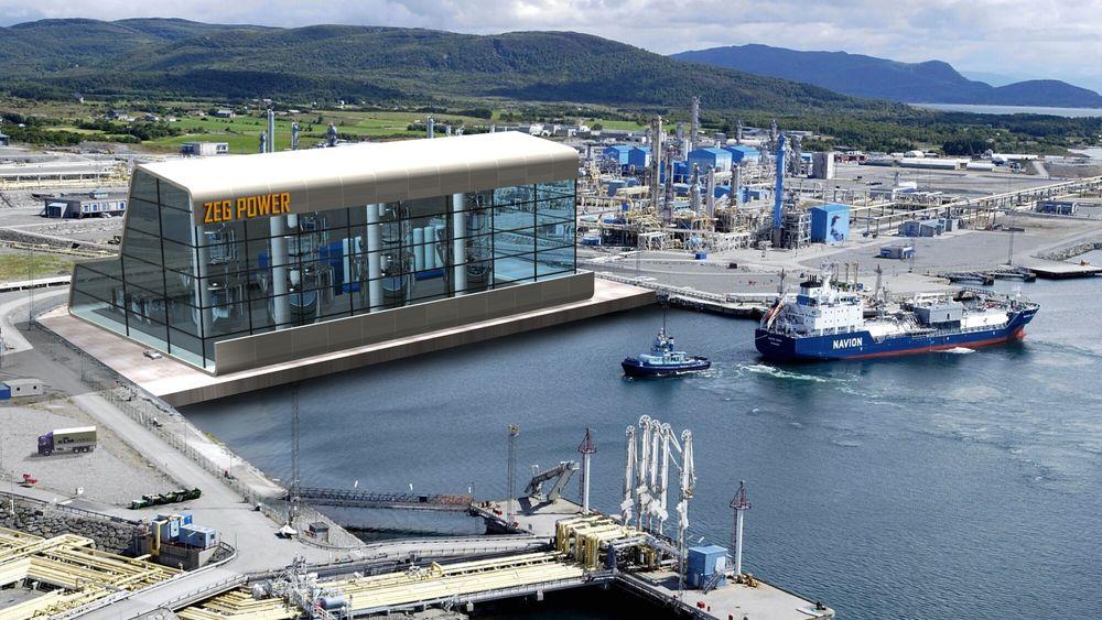 Kan bli: Slik har man tenkt seg et fullskala anlegg basert på teknologien som ZEG Power utvikler.  Pilotfabrikken bygges nå i Øygarden.