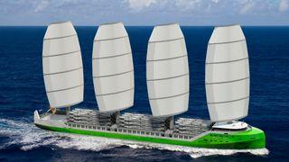 Dykstra Naval Architects i Nederland har utviklet konseptskipet WASP på 138 meter med Dynarig og seilareal på 4.000 kvadratmeter.