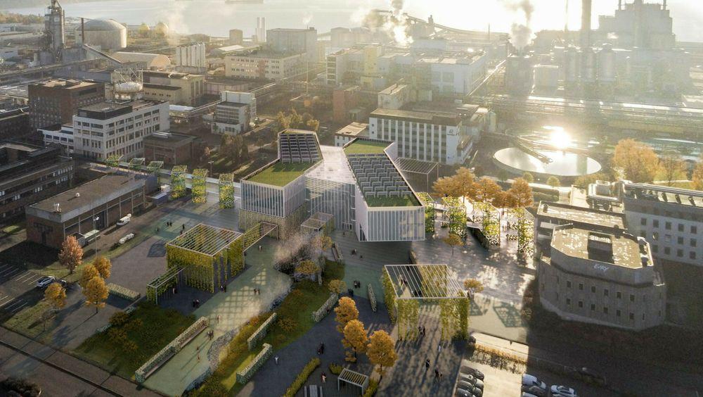 Nybygget til Seidr, slik arkitektene ser det for seg i tidlig skissefase, med ekisterende forskningssenter til venstre i bildet.