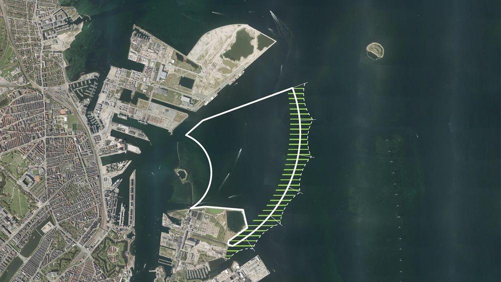 Den kunstige øya Lynetteholm er planlagt bygd mellom fortet Trekroner og vindmølleparken ved innseilingen til København.
