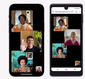 Facetime i IOS-appen og i nettleseren på en Android-enhet.