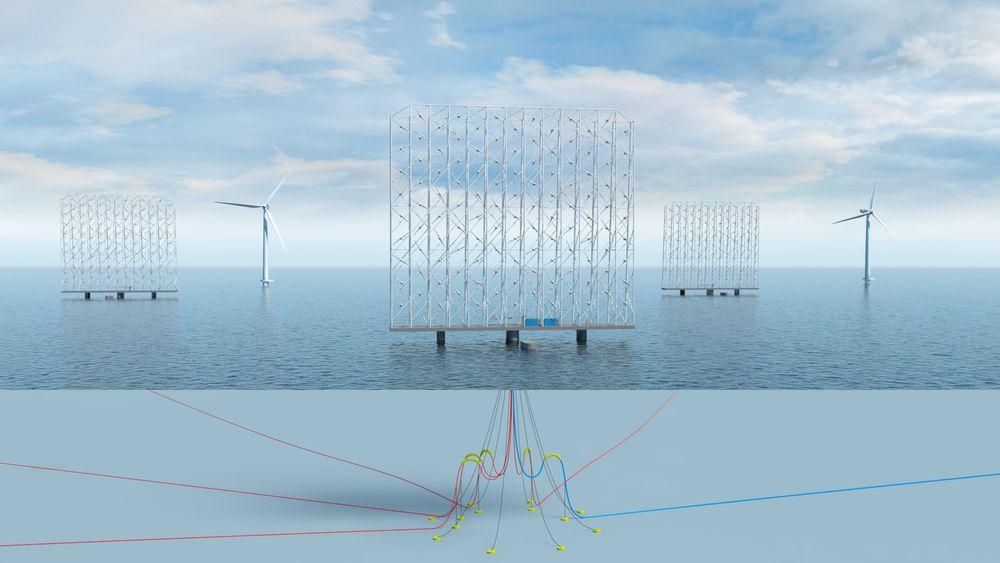 Rammen inneholder 117 vindturbiner på 1 MW hver og dreier rundt sin egen akse. Kablene kommer opp gjennom et rør midt i innretningen, som på et flytende produksjonsskip.