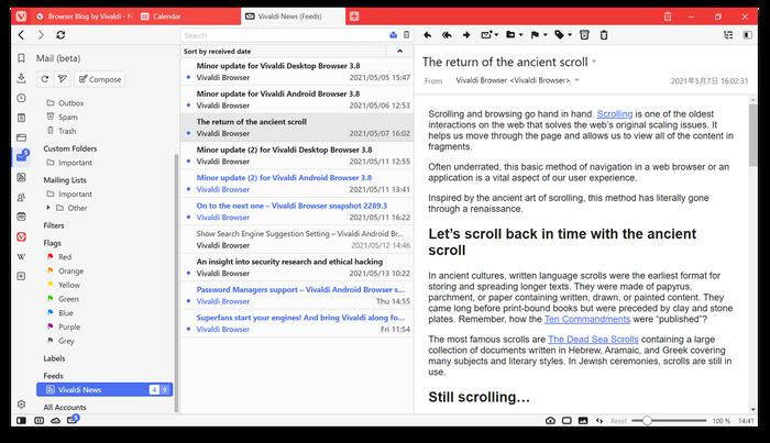 Feed-funksjonen i Vivaldi er integrert i e-postklienten.