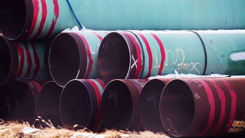 Rør som skulle brukes i oljerørledningen Keystone XL. Prosjektet er nå lagt dødt.