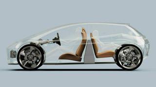 De britiske designerne ser for seg at batteriet står opp i kupeen, mellom seteradene som er vendt bort fra hverandre. Passasjerene i baksetet blir dermed sittende mot kjøreretningen.