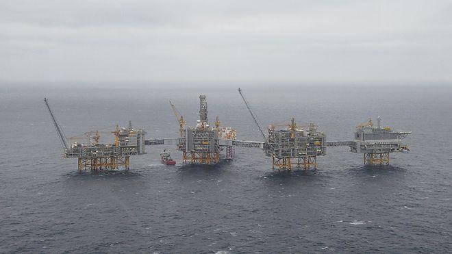 Bildet viser Johan Sverdrup-plattformen, desember 2019.