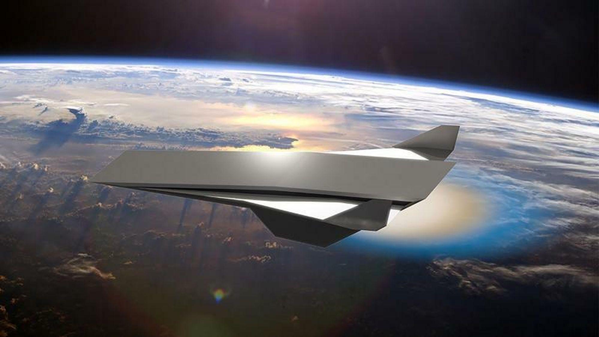 Det er ingen konkrete planer om å produsere et fly med en detonasjonsmotor, men universitetet der motoren blir undersøkt, står bak denne visualiseringen av hvordan den kan se ut.