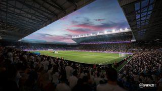 Fotballstadion Ellan Road i Leeds, slik den framstår i dataspillet FIFA 21.