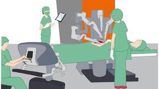 Kirurgi ved hjelp av roboter.