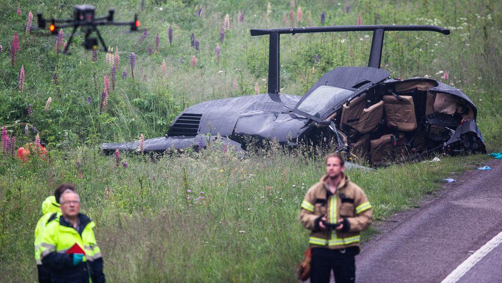 Havarikommisjonen jobbet i morges på stedet der helikopteret gikk i bakken.
