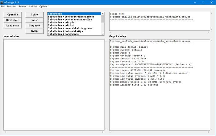 Dekrypteringsverktøyet AZdecrypt, versjon 1.19.