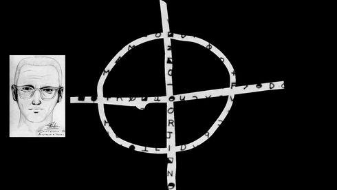 Zodiac-symbolet som Zodiac-moderen brukte med kryptogrammet Z340 i bakgrunnen, samt en fantomtegning av morderen.