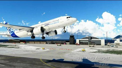 Microsoft Flight Simulator – oppdatert bilde fra Svalbard lufthavn ved Longyearbyen.