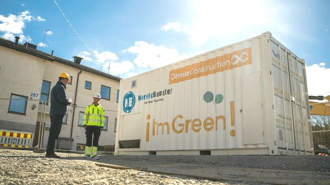 Ohmia Construction Nordic Booster hurtiglader Trønderenergi byggeplasstrøm el anlegg bygg utleie kwh effekt utslippsfri