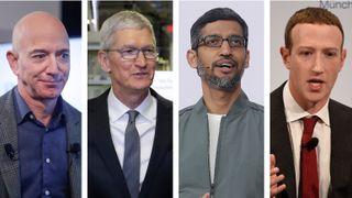 Lederne for de fire store teknologiselskapene, fra venstre Amazons Jeff Bezos, Apples Tim Cook, Googles Sundar Pichai og Facebooks Mark Zuckerberg, er under økende press både i USA og Europa.