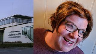Collage: En smilende Elin Stillingen og eksteriør av Justervesenets kontor på Kjeller.