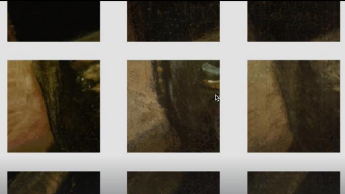 Tre firkanter med tre versjoner av en liten del av et maleri på rad