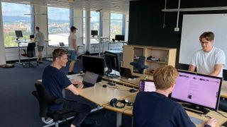 Kvist på sine midlertidige kontorer på Helsfyr Atrium i Oslo for sommeren.