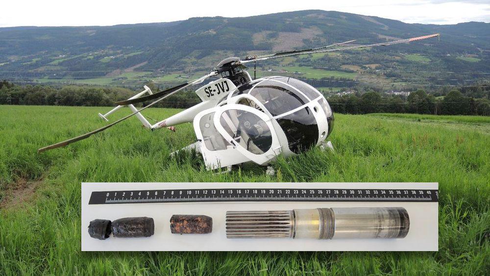 Hughes Helicopters 369D-helikopteret og de to vinkorkene som ble funnet i den inngående akslingen til hovedgirboksen.