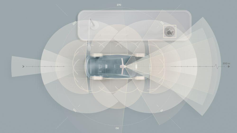Her vises alle sensorene i den kommende helelektriske XC90.