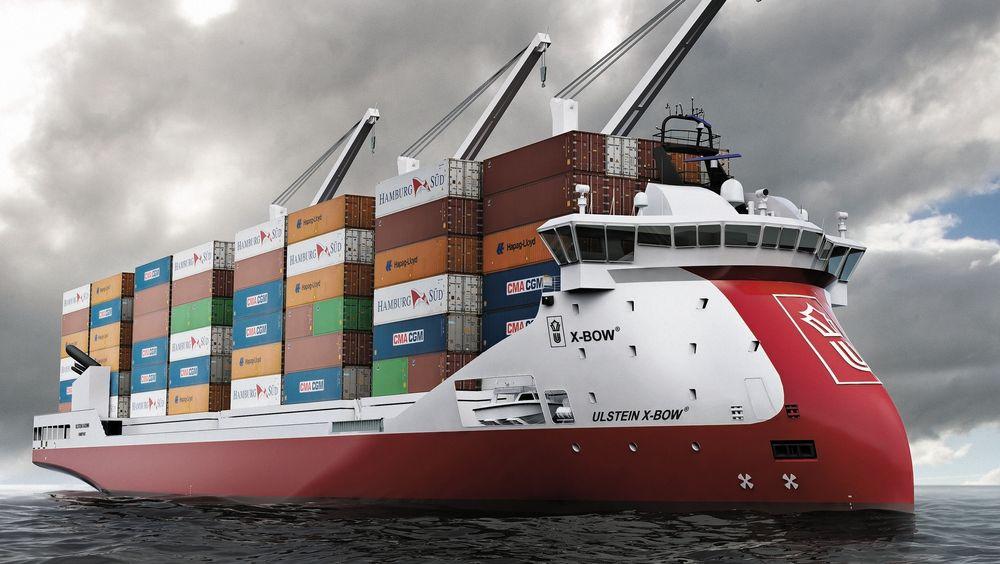 Ulstein har designet containerskip i flere størrelser for nærskipsfart. Edge Navigation vil være først ute med nullutslipps containerskip med X-Bow.
