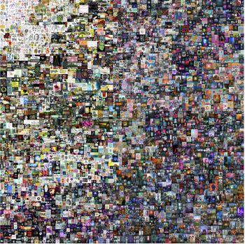 De 5000 første, daglige, digitale bildene til Beeple, satt sammen i en kollasj.