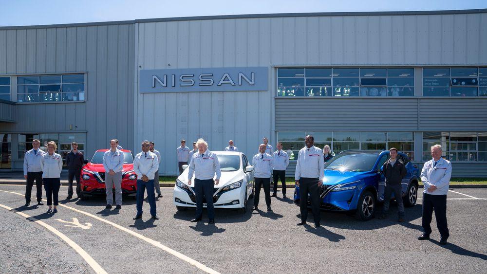 Storbritannias statsminister Boris Jonhson besøkte Nissans Sunderland-fabrikk i forbindelse med kunngjøringen av de nye planene for fabrikken.