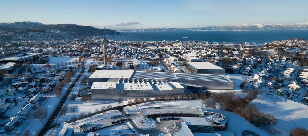 Fugleperspektiv av det nye marintekniske senteret på Tyholt med det kjente tårnet og Trondheimsfjorden i bakgrunnen.