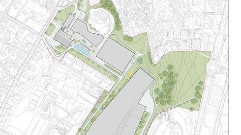 Kartet viserplasseringen av Ocean Space Centre og bygninger på Tyholt, der Sintef Ocean og Marinteknisk senter ligger i dag,