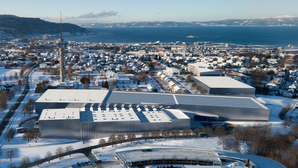 Fugleperspektiv av det nye marintekniske senteret, Ocean Space Centre, i Trondheim. Tyholt med det kjente tårnet og Trondheimsfjorden i bakgrunnen.