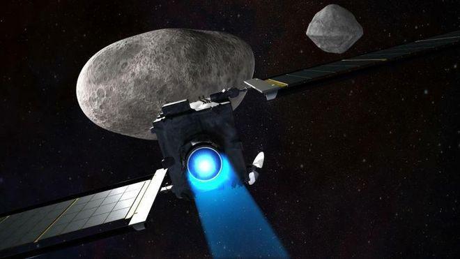 Romskipet ved asteroiden.
