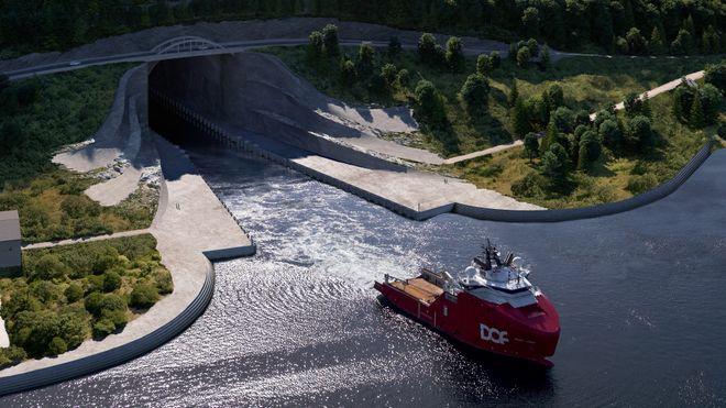 Fugleperspektiv av tunnellinngangen for Stad skipstunnel i Moldefjorden. Et stort ankerhåndteringsfartøy er tegnet inn.