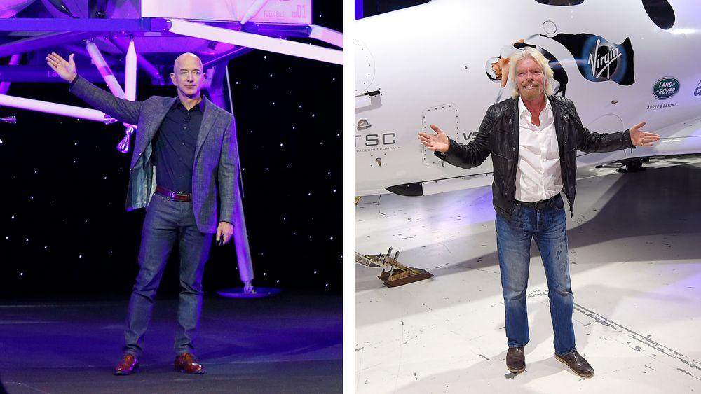 Jeff Bezos (t.v.) vil fly til verdensrommet 20. juli, på dagen 52 år etter den første månelandingen. Richard Branson satser på å slå Bezos med ti dager og sikter mot stjernene allerede på søndag.