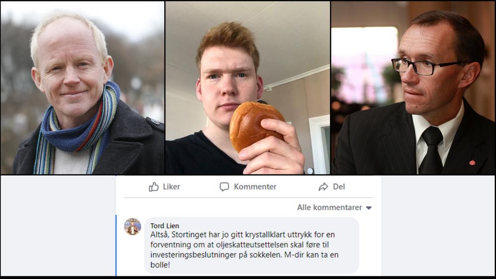 Lars Haltbrekken (SV), Ask Ibsen Lindal (MDG) og Espen Barth Eide (Ap) reagerer på at tidligere olje- og energiminister Tord Lien ber Miljødirektoratet «ta seg en bolle» etter at de uttrykte bekymring for Wisting-utbyggingen.