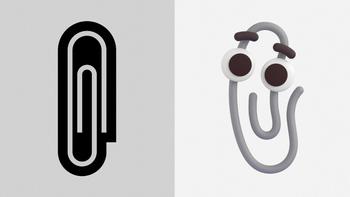 Binderssymbol på venstre side, binderssymbol med øyner og øyenbryn på høyre side