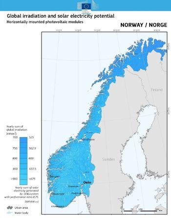 Figur 1: Solenergipotensialet i Norge (horisontal flate)
