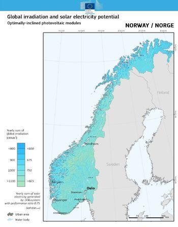 Solenergipotensialet i Norge (Optimal vinkel).