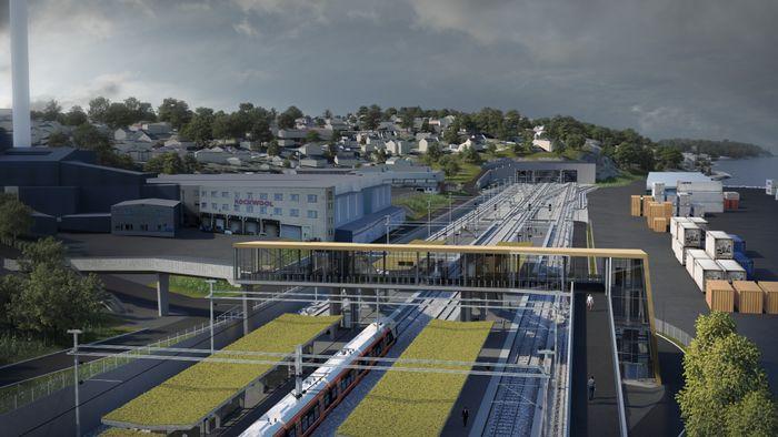 Slik kan den nye 800 meter lange togperrongen i Moss komme til å se ut i retning sør. To togtunneler på 2,7 og 2,3 kilometer er på begynt i nord og sør.