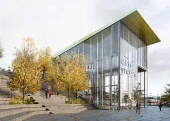 Slik kan en fremtidig togstasjon i Moss komme til å se ut.