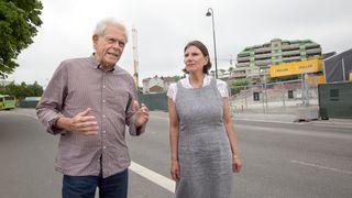 Jonathan Parker og Pia Eva Irene Reier frykter kvikkleireskred ved jernbaneutbyggingen i Moss.