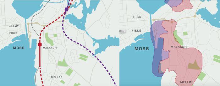 Kart over alternative togtraseer og kvikkleiresonen i Moss