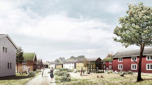 Tegning av husene på ny plass.